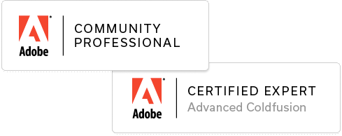 Adobe Advanced ColdFusion Certified Expert badges