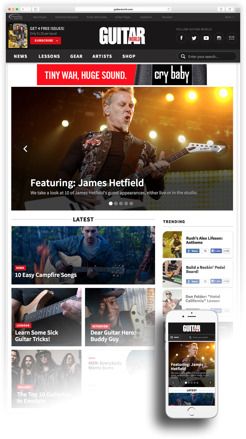 New GuitarWorld homepage on desktop and mobile
