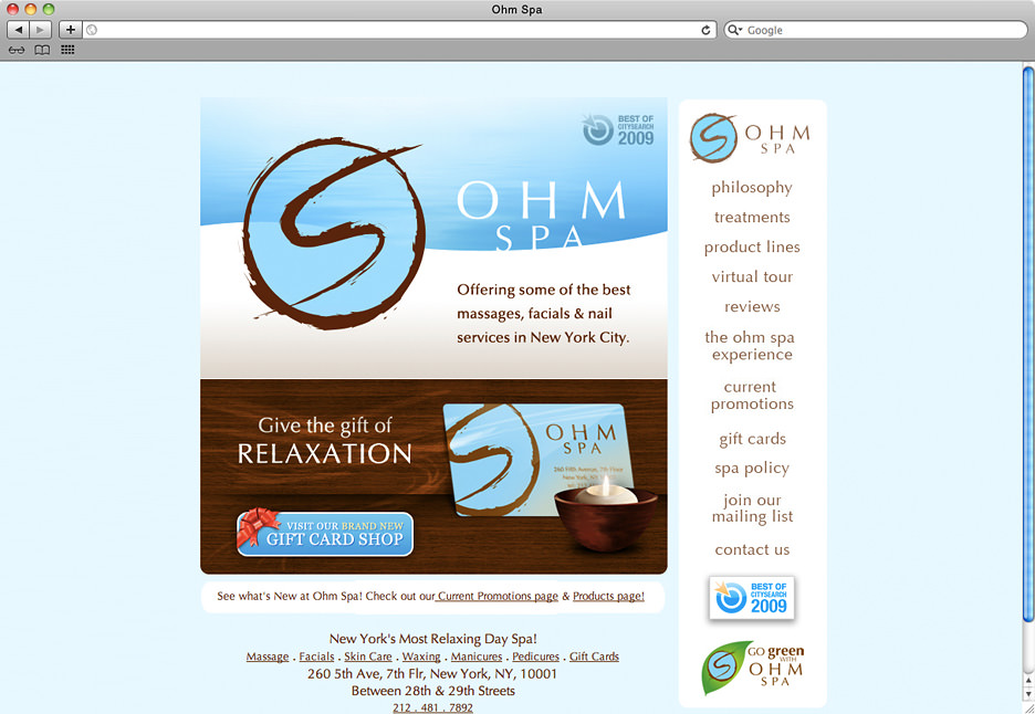 Ohm Spa e-commerce