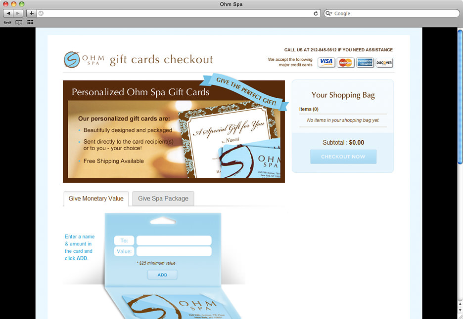 Ohm Spa gift cards checkout