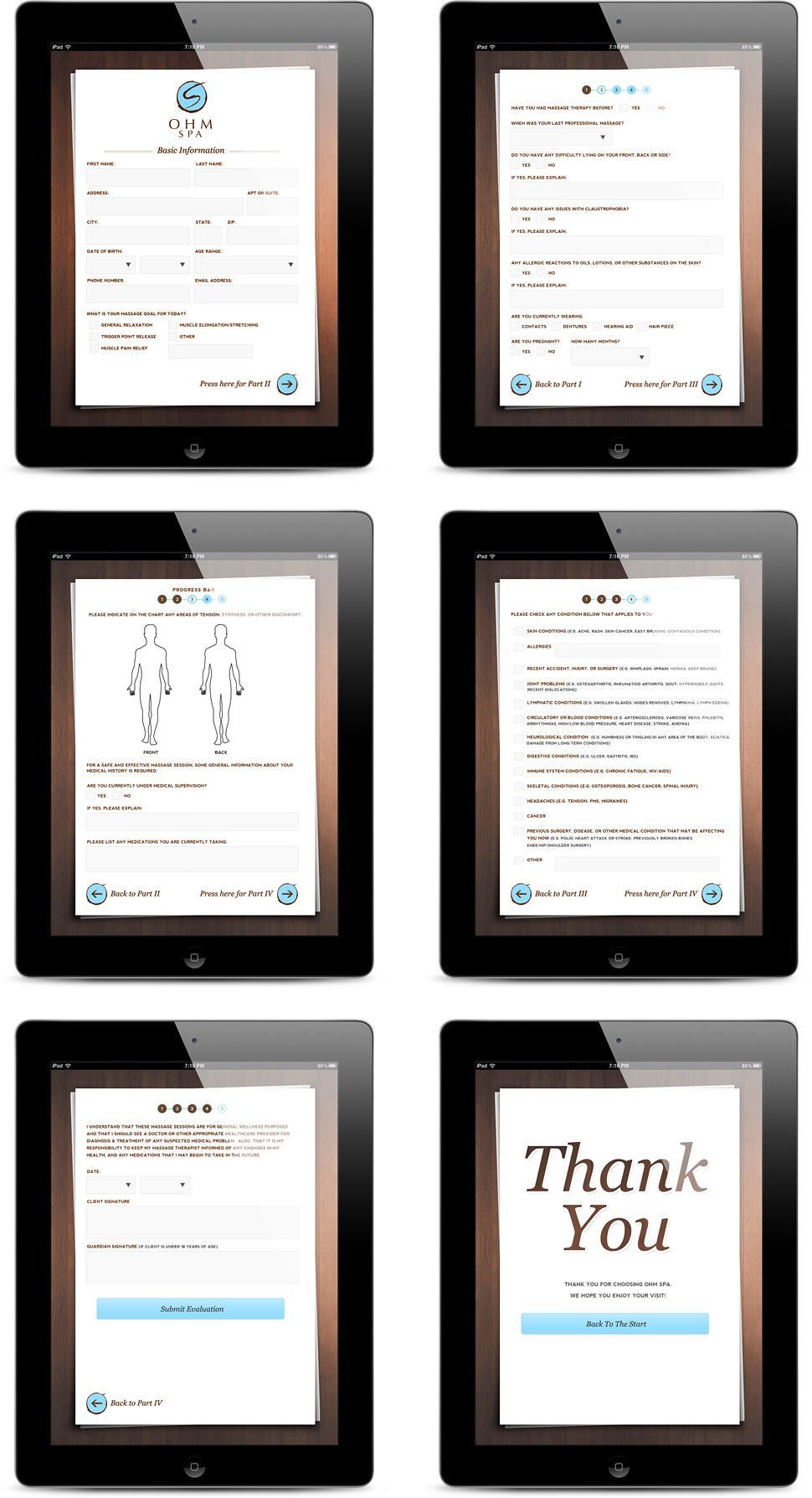 Ohm Spa iPad app