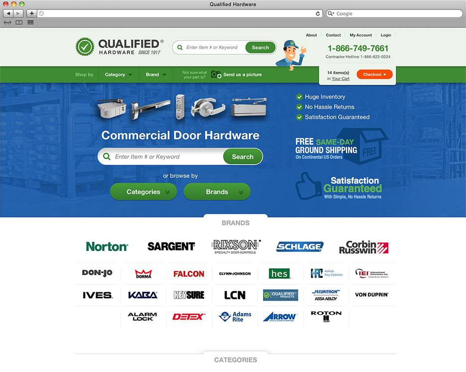 Qualified Hardware homepage
